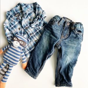 Oshkosh Baby Boys Flannel Shirt & Jeans Set EUC